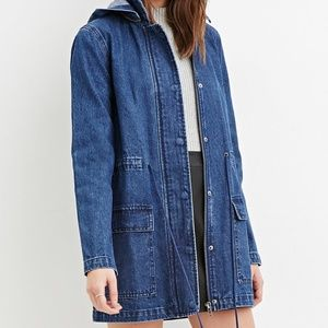Forever 21 Hooded Denim Utility Jacket Size Small